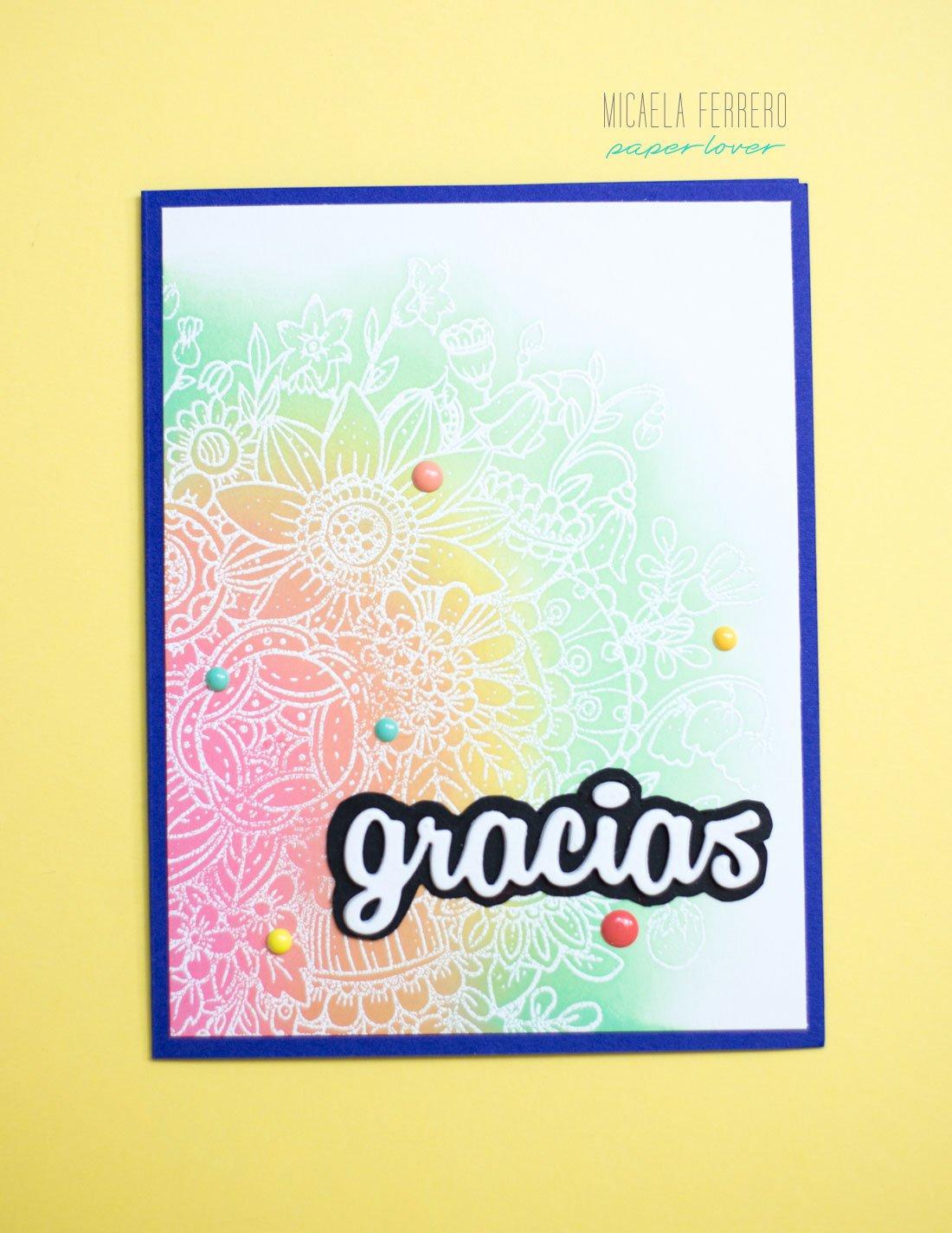 Tarjeta de agradecimiento Resistiendo el embossing con tintas Distress Oxide