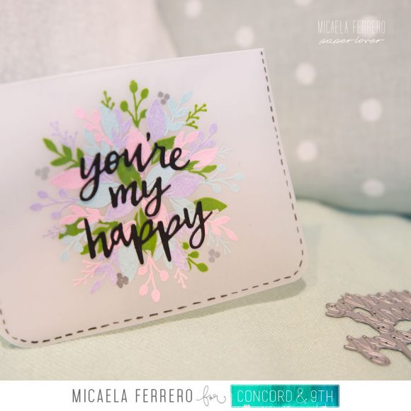 Sellos Turnabout florales con embossing en vellum